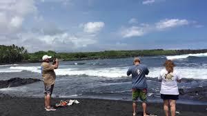 punaluu black sand beach in hawaii youtube