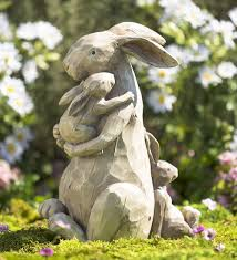 momma and baby bunnies garden statue garden statues animal