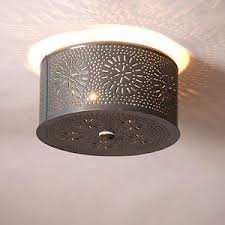 Tin Ceiling Lights Country New Gray Punched Tin Ceiling Light Ebay