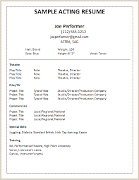 Resume Fill In The Blanks Free Template Resume Examples For Actors 10 Sample Actors Resume Free Templates