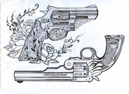 impressive painted realistic designed old style guns tattoo