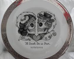 and groom plates your names date skeleton wedding plate and groom