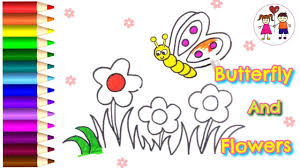 how to draw a butterfly in flower garden coloring pages for kids