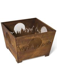 Wood Burning Firepit by Square Fire Pit Moon Forest Fire Pit Square Metal Fire Pit
