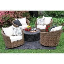 Patio Furniture Conversation Set - ae outdoor augustine 5 piece all weather wicker swivel