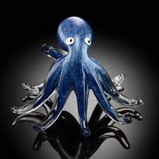 spi home 20060 art glass standing octopus figurine in blue with