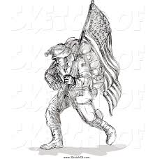 Soldier With Flag Drawing Of A Sketched Soldier Carrying An American Flag By