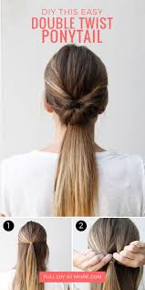 quick hairstyles for long hair at home this double twist ponytail is the perfect five minute hairstyle