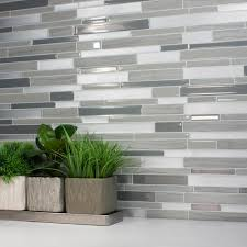 Smart Tiles Milano Grigio  In W X  In H Peel And Stick - Home depot tile backsplash