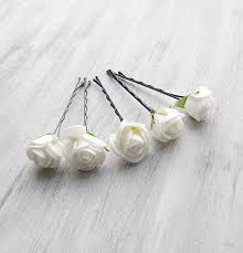 white flowers bobby pins roses bridal hair pins woodland