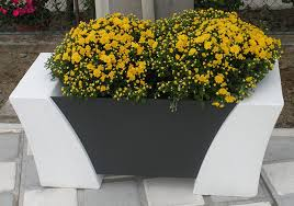 cor ten steel planter concrete rectangular contemporary