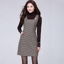 showmi 2017 autumn winter woolen dress plus size sleeveless dress