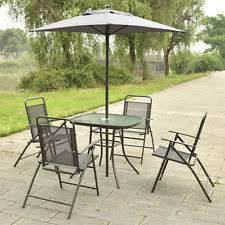 Patio Sets With Umbrella 6piece Folding Patio Set Outdoor Chairs Table Umbrella Furniture
