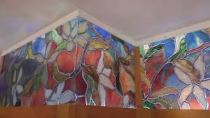 Stained Glass Kitchen Cabinets Kitchen Cabinet Faux Stained Glass And Led Lighting Youtube