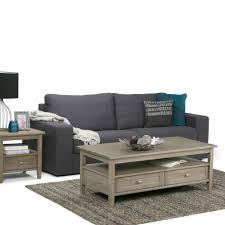 Weathered Coffee Table Simpli Home Distressed Grey Built In Media Storage Coffee Table