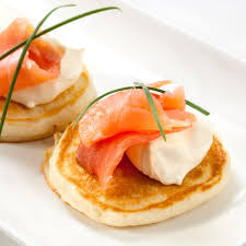 bellini canape blinis with smoked salmon crème fraiche and chives gf available