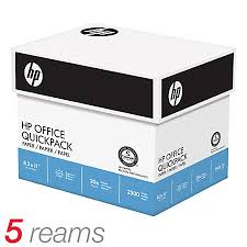 hp office quickpack paper letter size paper 20 lb box of 2500