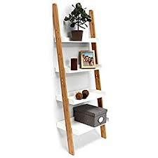 white ladder shelving unit 5 tier display stand bookcase shelf
