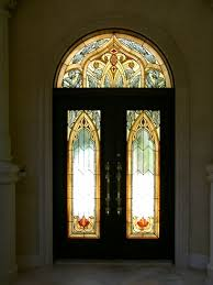 Moorish Design Handmade Stained Glass Entry Doors And Transom In A Moorish Style