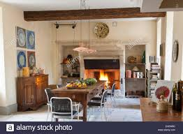 copper pendant light kitchen provencal kitchen with large stone fireplace and wooden dining