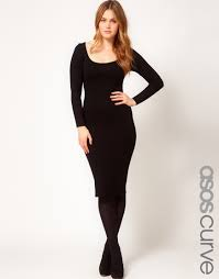 asos exclusive bodycon dress in midi length with sleeve in black