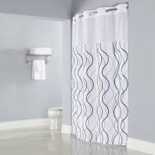 White Shower Curtains Hookless Hbh49wav01sl77 White With Gray Waves Shower Curtain With