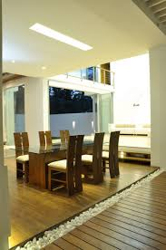 architecture lacquered wooden floor with white rocks partition