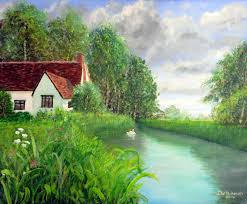 cottage at flatford acrylic painting by steve buchanan