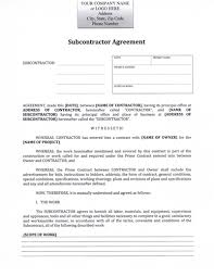 subcontractor agreement contractor subcontractor agreement sample