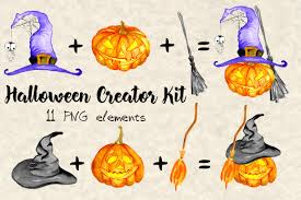 happy halloween clipart halloween clipart creation kit pumpkin clipart watercolor