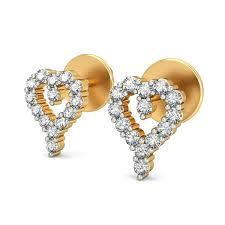 heart shaped diamond earrings diamond heart shaped earrings certified 0 28 ct gold gift