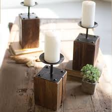 wood candle holders set of 3 cece u0026 me home and gifts