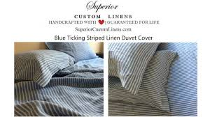 blue ticking striped linen duvet cover youtube