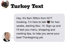 text with ny times food editor for thanksgiving adweek