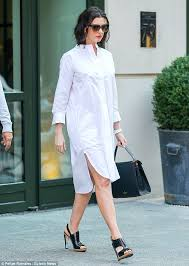 anne hathaway looks chic in shirt dress and peep toe heels in nyc