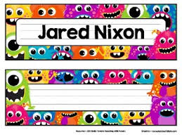 printable monster name tags monster name plates by teaching with powers teachers pay teachers