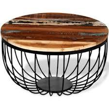 round industrial side table vintage industrial coffee table furniture side table wood metal