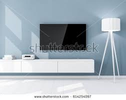 smart tv mockup blank screen hanging stock illustration 614254097