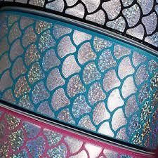 mermaid ribbon holographic silver rainbow foil mermaid scales grosgrain ribbon