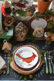 winter nesting and woodland tablescape with birds in the potting