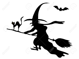 witch silhouette clipart silhouette of the witch on her broom royalty free cliparts