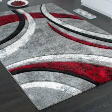 Wohnzimmer Schwarz Rot Designer Teppich Mit Konturenschnitt Muster Gestreift Grau Schwarz