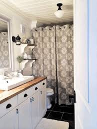 small bathroom window curtain sunken bathtub near the large window