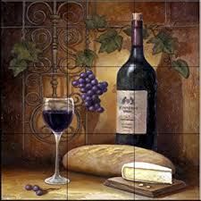 tile murals for kitchen backsplash ceramic tile mural bread and wine by theresa kasun kitchen