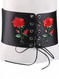 floral belt black lace up floral embroidered corset belt rosegal