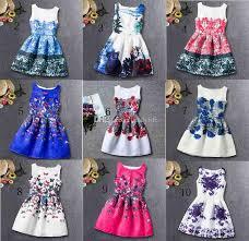 2017 10design kids girls formal dresses teens designer print