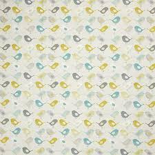 ochre scandi birds fabric dunelm