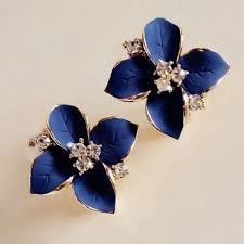 stud earrings online blue flower rhinestone stud earrings cheap jewellery online india