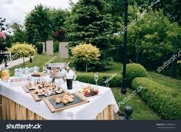 catering services restaurant wedding table reception stock photo