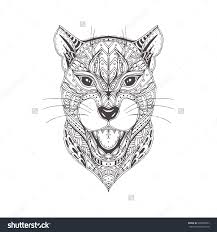 hand drawn panther with ethnic floral doodle pattern coloring